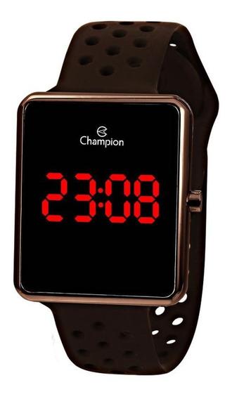 Relógio Champion Led Vermelho Ch40081m Marrom Quadrado