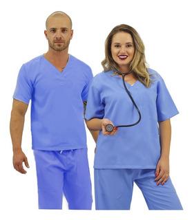 Pijama Cirúrgico Oxford Unissex Médico (azul Celeste) (23)