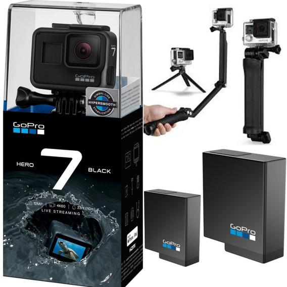 Câmera Gopro Hero 7 Black 12mp 4k + 2 Baterias + 3 Way