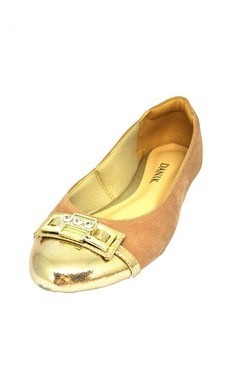 Sapatos Femininos Nobuk Bege Dourado Dani K
