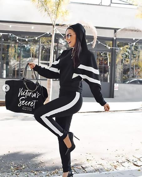 Conjunto Malha Feminino Manga Longa Calça Blusa Inverno Moda