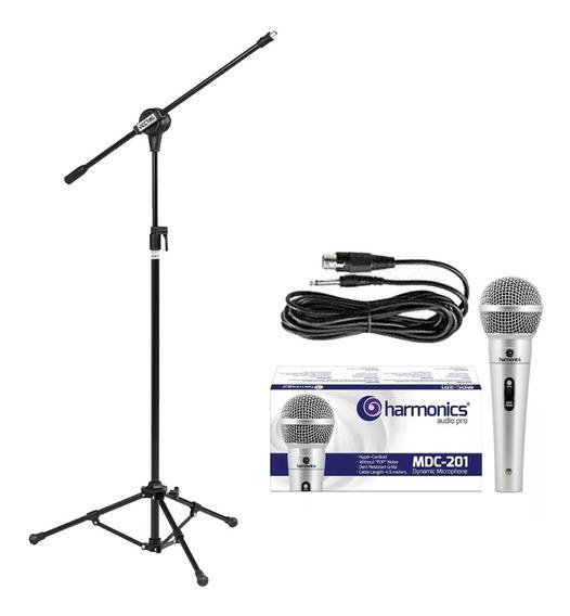 Kit Pedestal + Microfone Harmonics Mdc201 Prata Promoção!