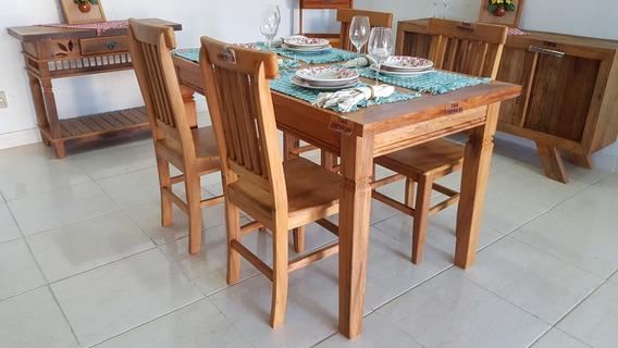 Mesa De Jantar 1,40m + 4 Cadeiras Madeira Maciça Peroba Rosa