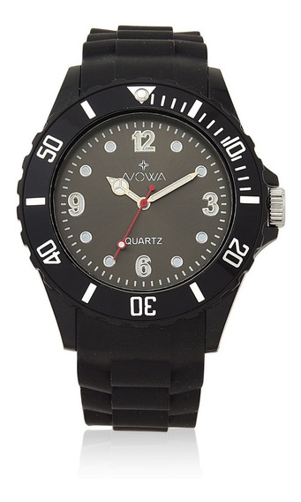 Relógio Nowa Masculino Preto Nw0521pk Borracha Original
