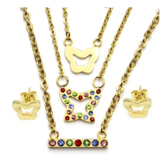 Set Joyeria Acero Dorado Triple Collar Dije Mariposa Eg