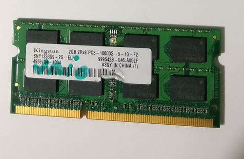 Memoria Ram Notebook Sodimm Pc3 10600s 2gb