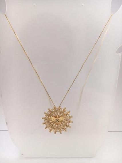 Pingente Com Corrente Semi-jóia Banhado Ouro Esp Santo 4361