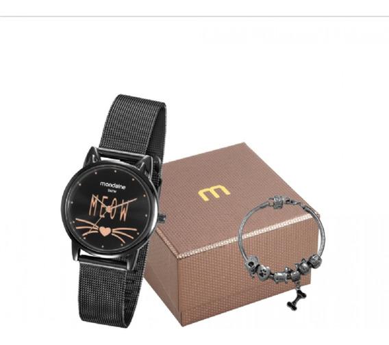 Relógio Feminino Mondaine Preto Gatinho 53782lpmvpe2k1 C/ Nf