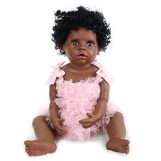 Pursuebaby Muñeca Bebé Renacida Negra Realista + Calebro Ame