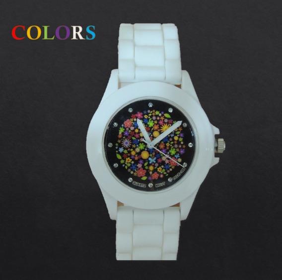 Relógio Feminino Esporte De Borracha Branco Promoção