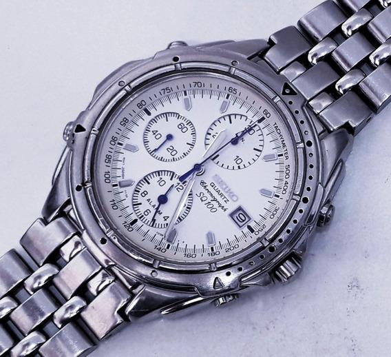 Relógio Seiko 7t32 Cronógrafo Alarme Calendário Todo Em Aço