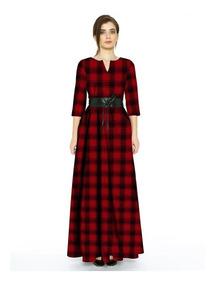 Maxi Vestido Tallas Extras Rojo Negro De Estampado Cuadros
