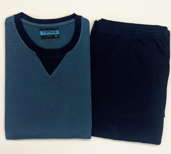 Pijama Hombre Jersey Combinado Pantalón Con Puño Tipico 893