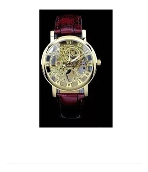 Relógio Luxo Mecânico Skeleton Dourado Caixa Transparente