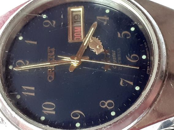 Relógio Orienr Antigo Fundo Azul Cristal 21 Jewels
