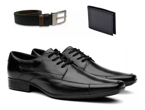 Sapato Social Masculino Verniz Cadarço Carteira De Brinde