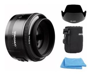 Lente 50mm F1.8 Yongnuo Para Canon + Parasol   Bolso   Paños