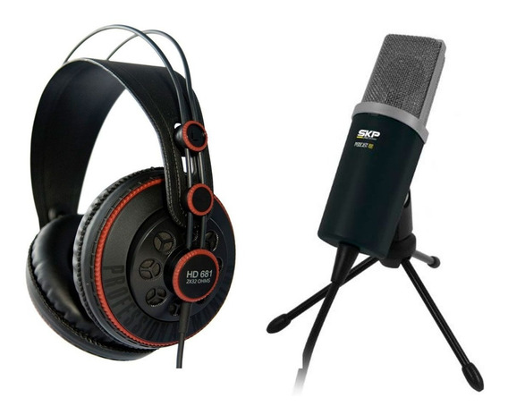 Kit Microfone Condensador Fone Pc Podcast Superlux Skp Hd681