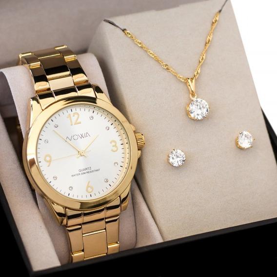 Relógio Nowa Dourado Feminino Nw1026k Original + Kit Brinde