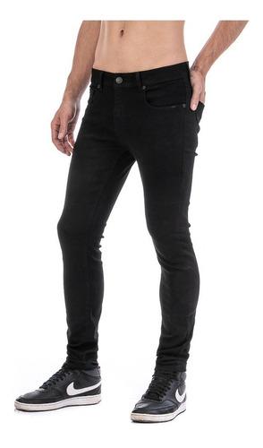 Imagen 1 de 7 de Pantalón Negro Caballero Skinny Slim Bolsa Seccionada