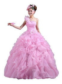 Vestido Debutante Festa 15 Anos Amarelo E Rosa Com Saiote