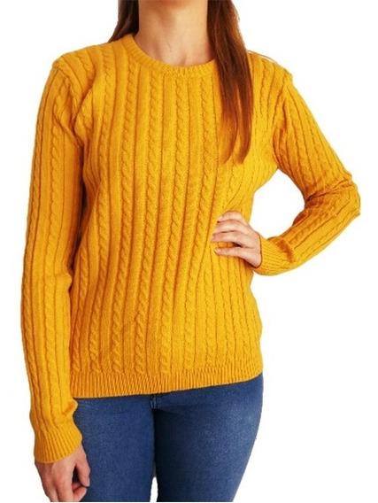 Sweater Mujer Importado Pullover Trenzado Bremer Abrigado