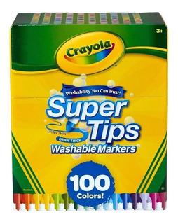 Marcadores Lavables Crayola 100 Plumones Delgados Super Tips