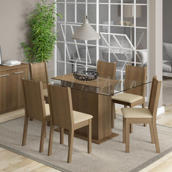 Conjunto Sala De Jantar Molly Madesa Mesa Com 6 Cadeiras