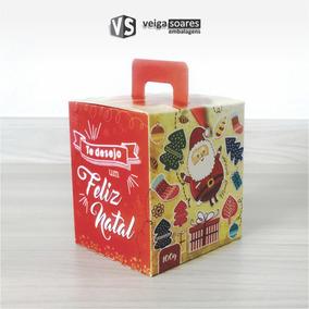Caixa Embalagem P Panetone Natal Vermelho 100gr. (50 Unid)