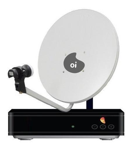 Kit Oi Tv Livre Hd 2 Receptor Antena 60cm Lnb Duplo 34m Cabo