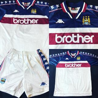 Kit Camisa + Shorts Manchester City 1997-1998 Camisa Tam G