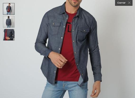 Camisa De Mezclilla Slim Fit Azul