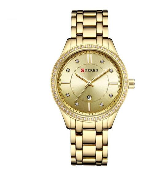 Relógio Feminino Dourado Quartzo De Luxo Curren Blanche 9007