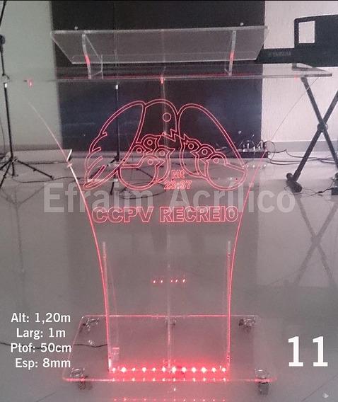 Púlpito De Acrílico + Iluminação + Gravação A Laser + Brinde
