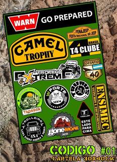 Kit C/ 4x Cartelas Adesivos Jeep Trilha 4x4 Offroad Jeepeiro