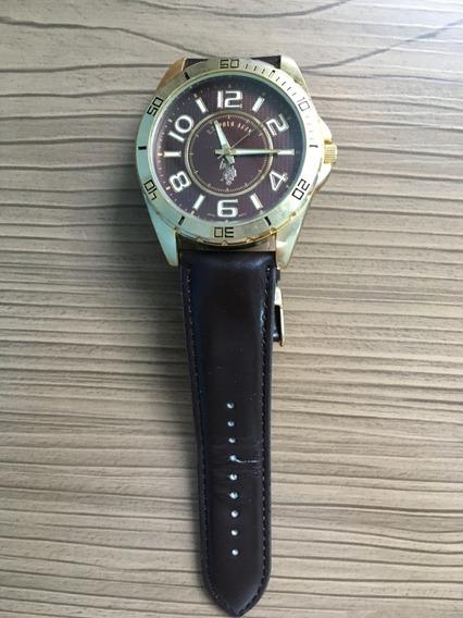 Relógio Us Polo Assn Masculino Com Pulseira De Couro