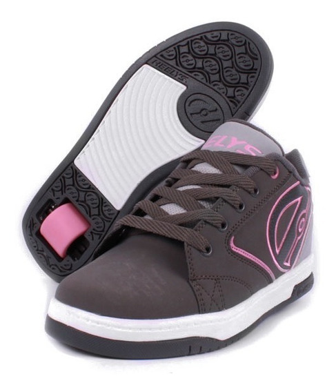 Tenis Heelys Para Niña Gris Con Rosa Big Logo Una Llanta