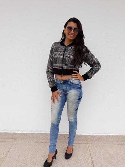 Jaqueta Feminina Curta Xadrez, Tam. M.