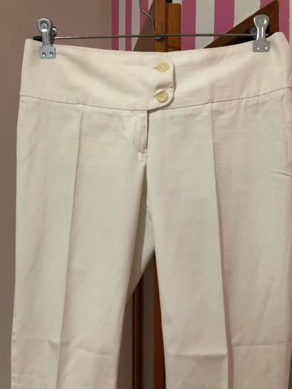 Pantalón Blanco De Gabardina Elastizada