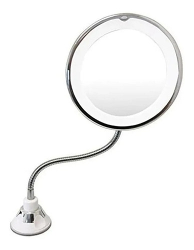 Espejo Sopapa Flexible Aumento X10 Ventosa Baño Cromado Luz
