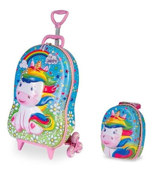 Mochila Escolar Unicórnio Cute 3d Com Rodinhas E Lancheira