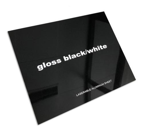 Aluminio Bicapa Laserables 0,45mm X4 Unidades Negro / Blanco