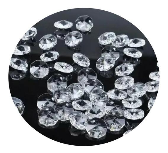 1000 Castanhas 14mm Cristal Acrílico E 1000 Argola Inox 10mm