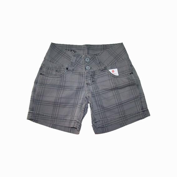 Bermudinha Feminina Xadrez Sarja Shorts Jeans