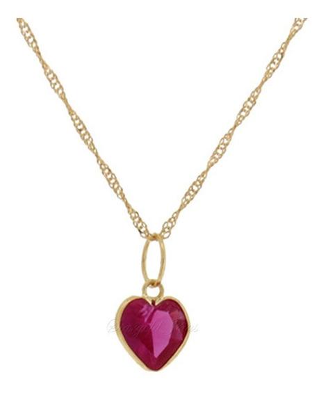 Corrente Singapura 45cm + Pingente Coração Ouro18k Stargold