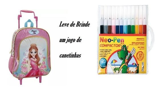 Mochila Infantil Com Rodinha Princesa Isa + Brinde