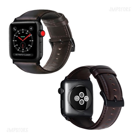 Pulseira Couro Genuino Apple Watch 1 2 3 4 42mm E 44mm