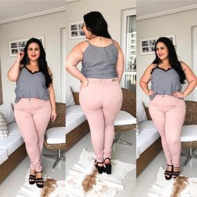 Calça Jeans Plus Size Azul Cós Alto Lycra Tamanhos Grandes!!