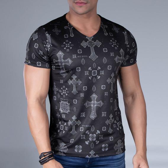 Camiseta Masculina Pit Bull Jeans Gola V 33833