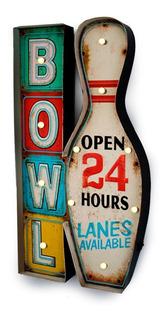 Placa Decorativa Bowl Luminosa Vintage Led Retrô Boliche Decoração Open 24 Horas Pista Lanes